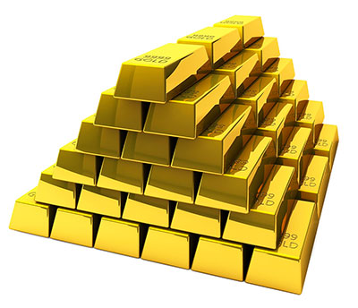 a large stack of gold bars